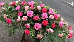Rose coffin floral display