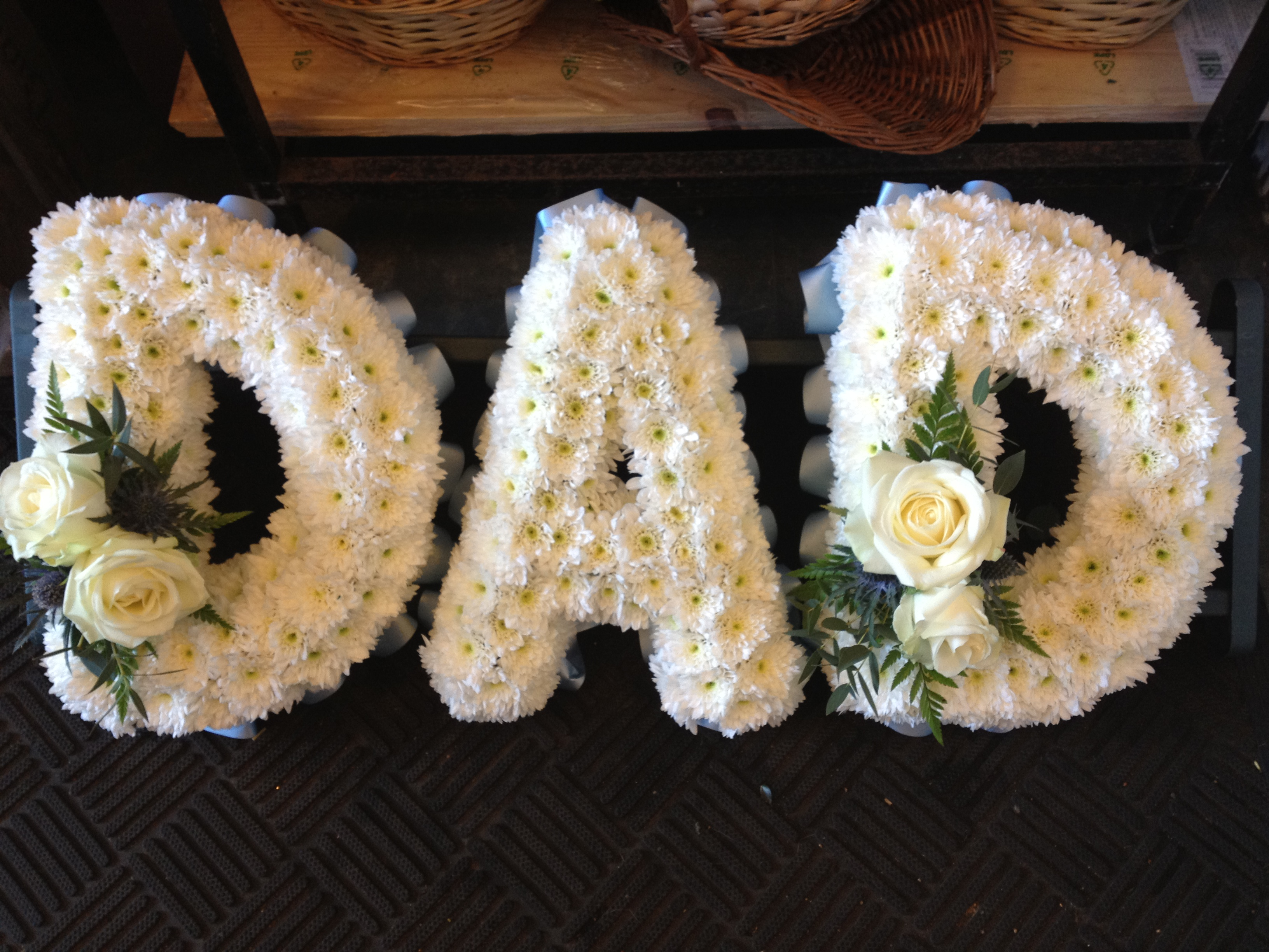Block letter funeral flowers flowers by elja call now 0116 dad tribute 7500 izmirmasajfo Images