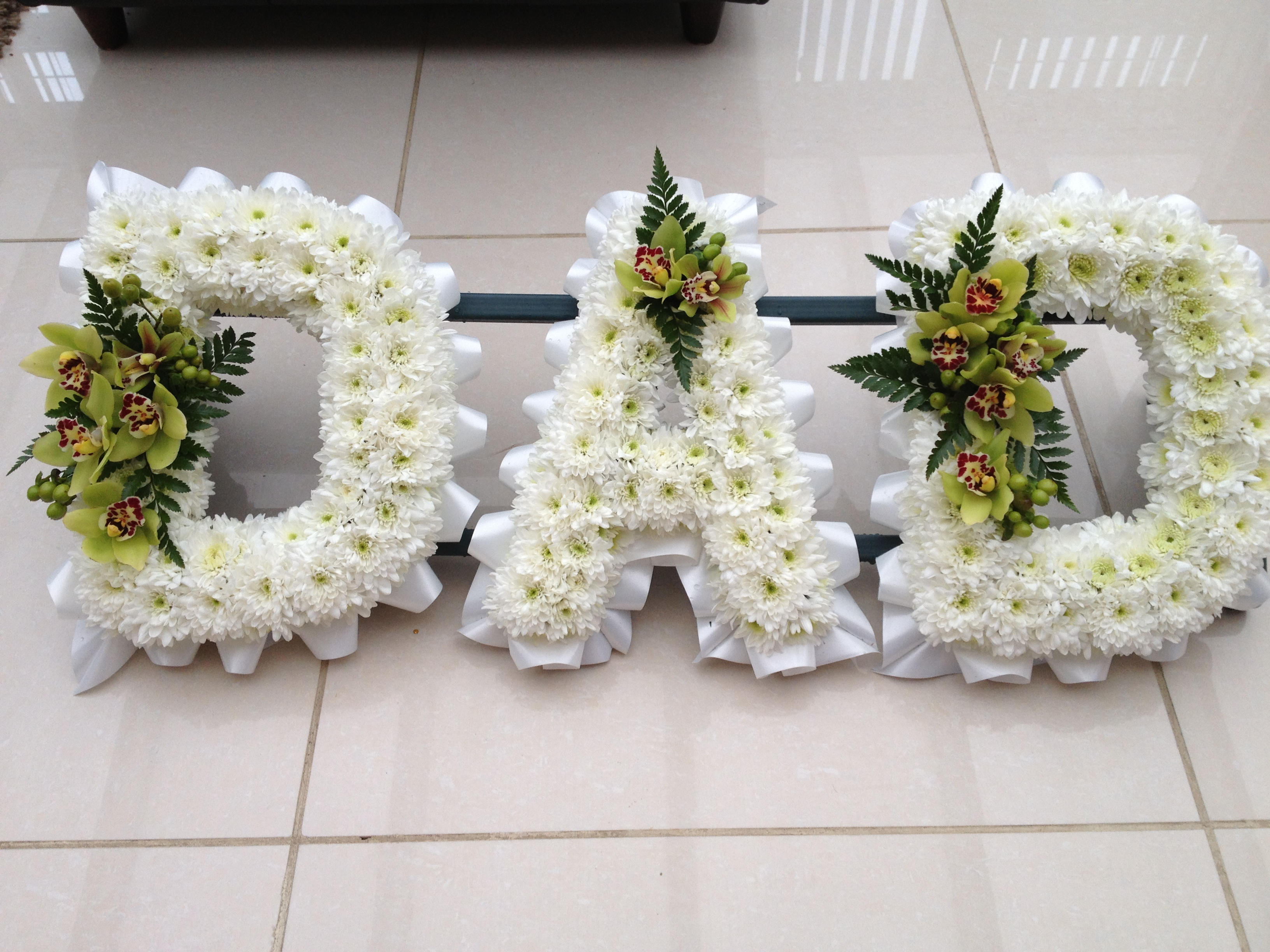 Block Letter Funeral Flowers Flowers By Elja Call Now 0116