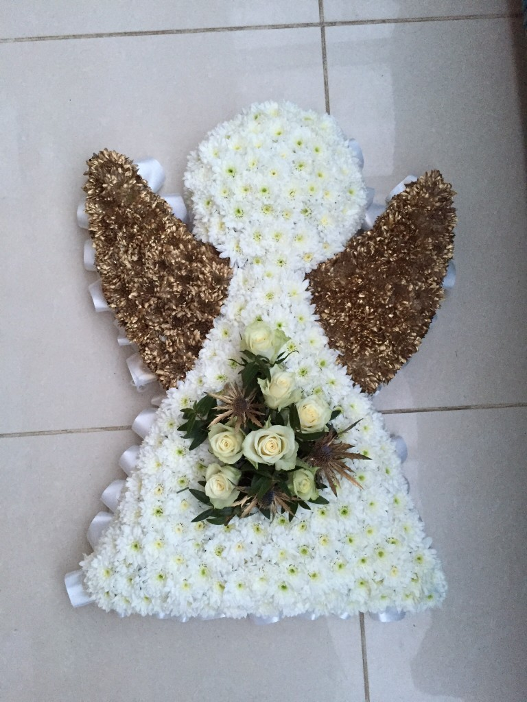 Special funeral tributes angel in white and gold izmirmasajfo